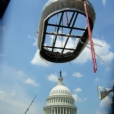 The finished North cast bronze fountain after the conservation and restoration treatment is being lowered in place on site of the U S Capitol grounds