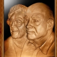 Portrait of Mr & Mrs Obetz sculpted for the plaque